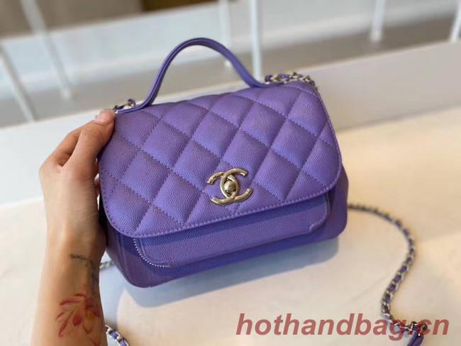 Chanel small flap bag Calfskin & Gold-Tone Metal A93749 purple
