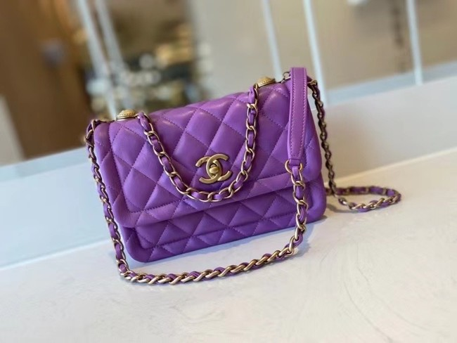 Chanel flap bag Calfskin & Gold-Tone Metal AS2055 purple