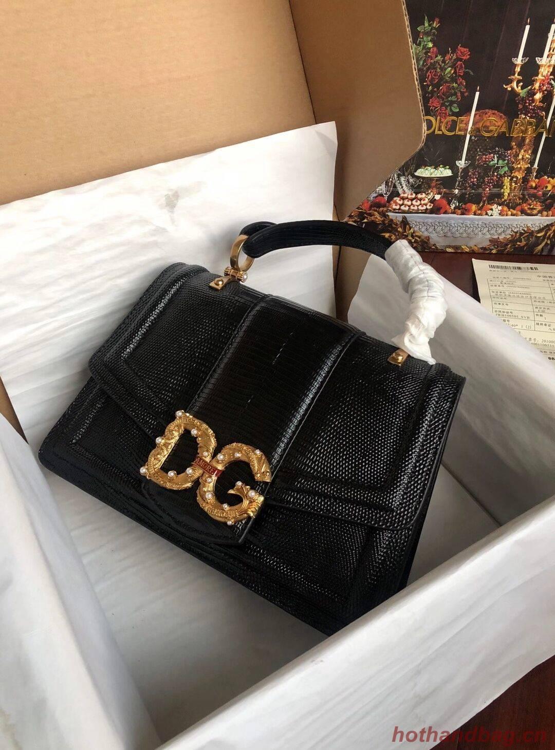 Dolce & Gabbana Origianl Lizard skin Leather Bag 4916F Black