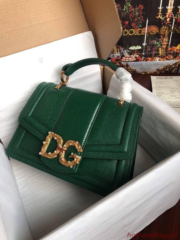 Dolce & Gabbana Origianl Lizard skin Leather Bag 4916F Blackish green