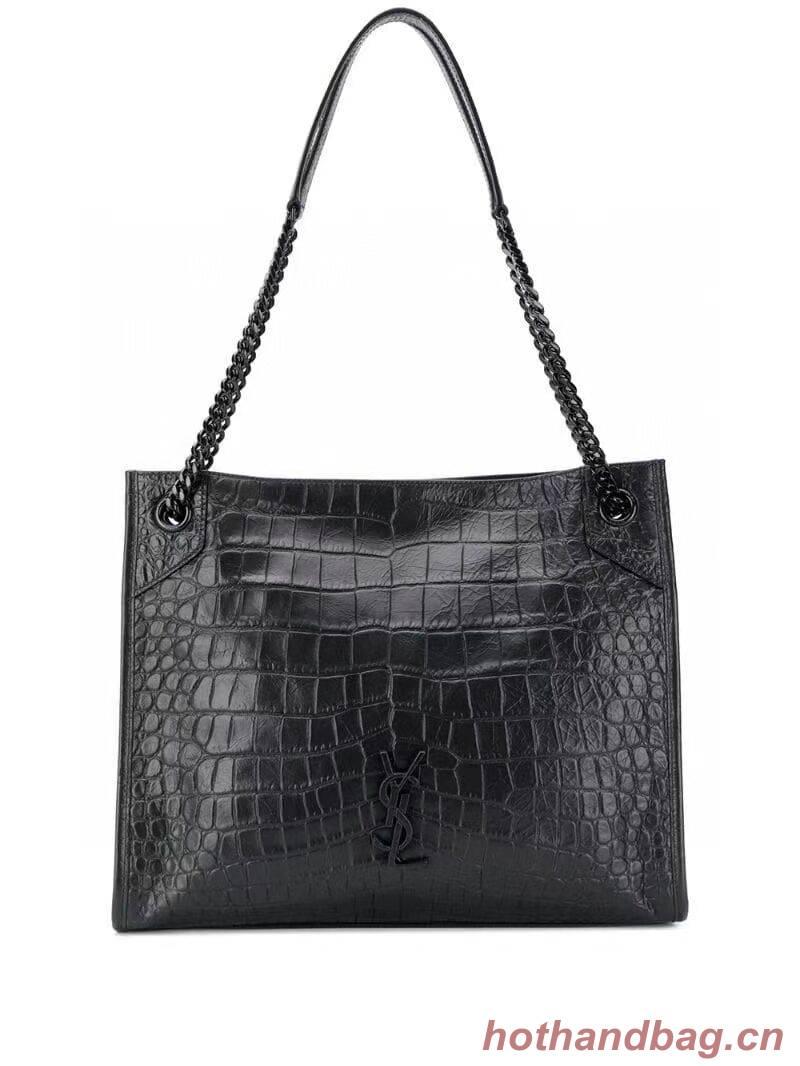 SAINT LAURENT NIKI MEDIUM SHOPPING BAG IN CRINKLED  LEATHER Y577999 black