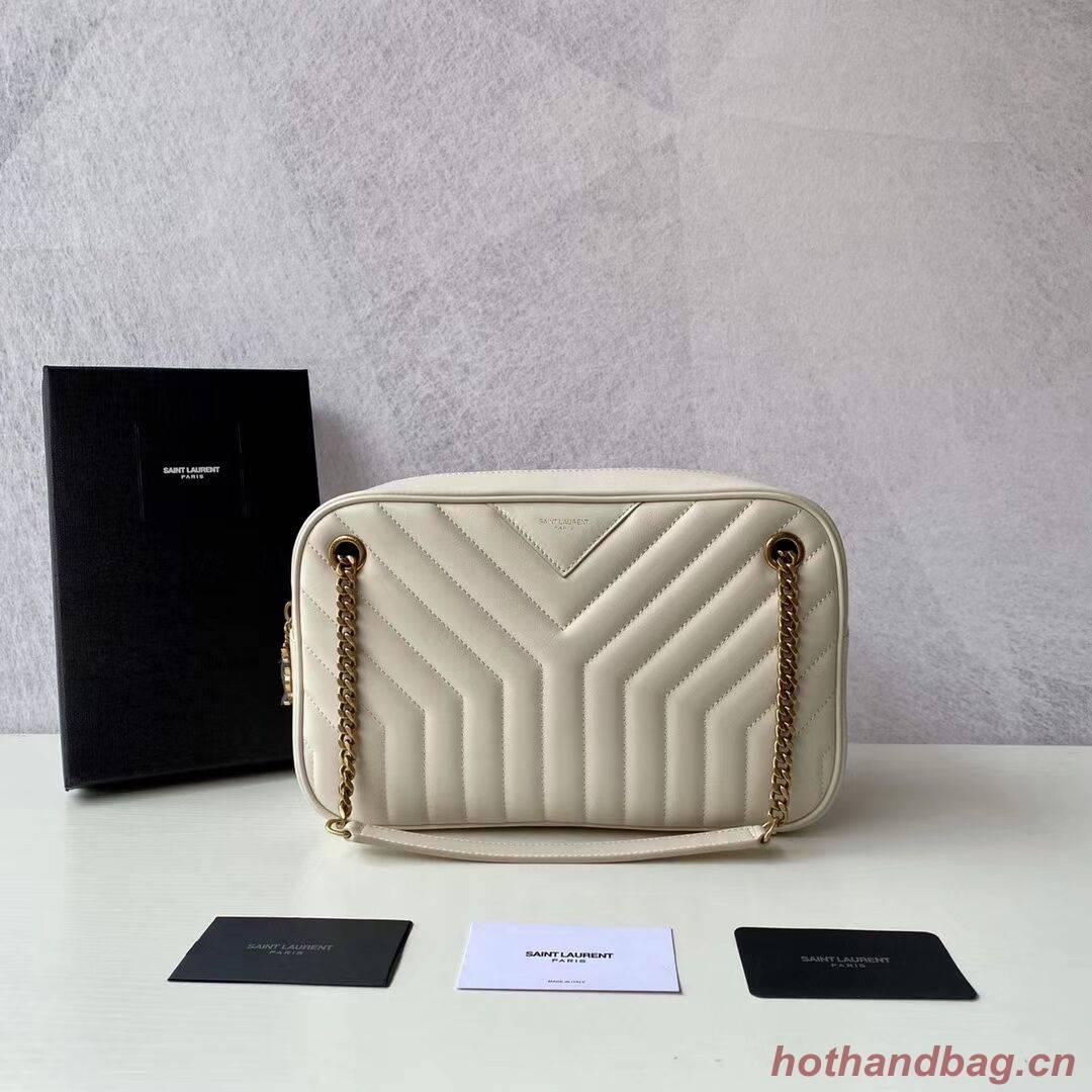 Yves Saint Laurent Calfskin Leather Shoulder Bag Y625386 white