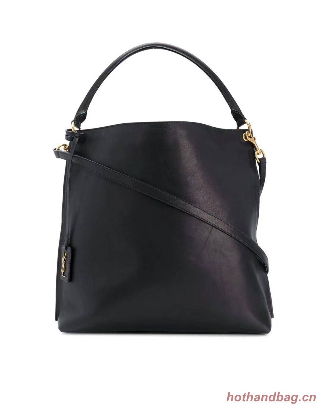Yves Saint Laurent Calfskin Leather Shoulder Bag Y635266 black