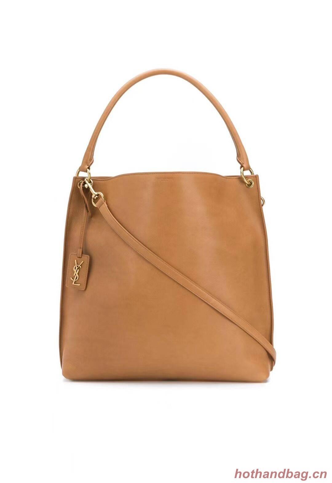 Yves Saint Laurent Calfskin Leather Shoulder Bag Y635266 brown