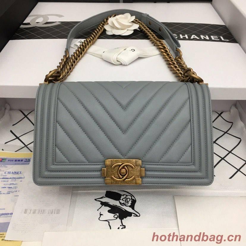 Boy Chanel Flap Bag Original Chevron Leather Gray A67086V Bronze Buckle