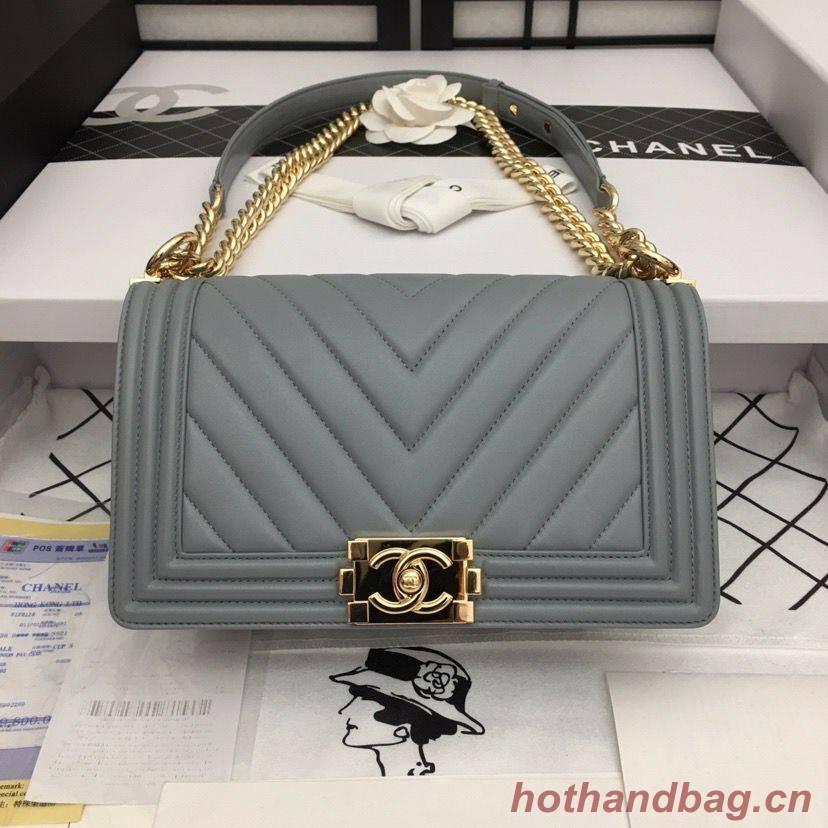 Boy Chanel Flap Bag Original Chevron Leather Gray A67086V Gold Buckle
