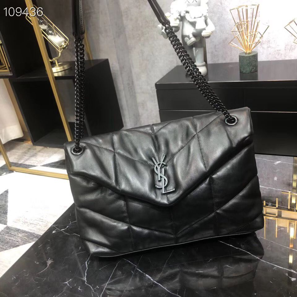 Yves Saint Laurent LOULOU PUFFER IN QUILTED CRINKLED MATTE LEATHER MEDIUM BAG Y577475 Black