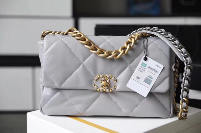 Chanel 19 flap bag AS1161 grey