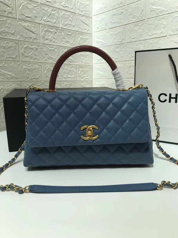 Chanel flap bag with Burgundy top handle A92991 Blue