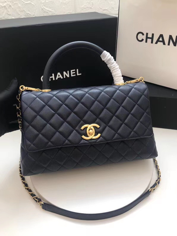 Chanel flap bag with top handle A92991 dark Blue