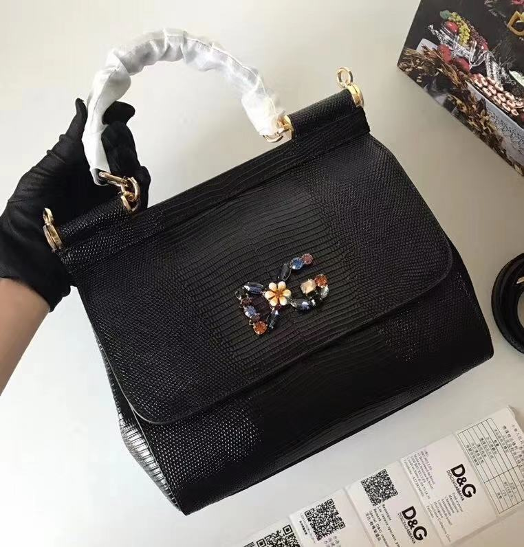Dolce & Gabbana SICILY Lizard Pattern Tote Bag BB4137 black