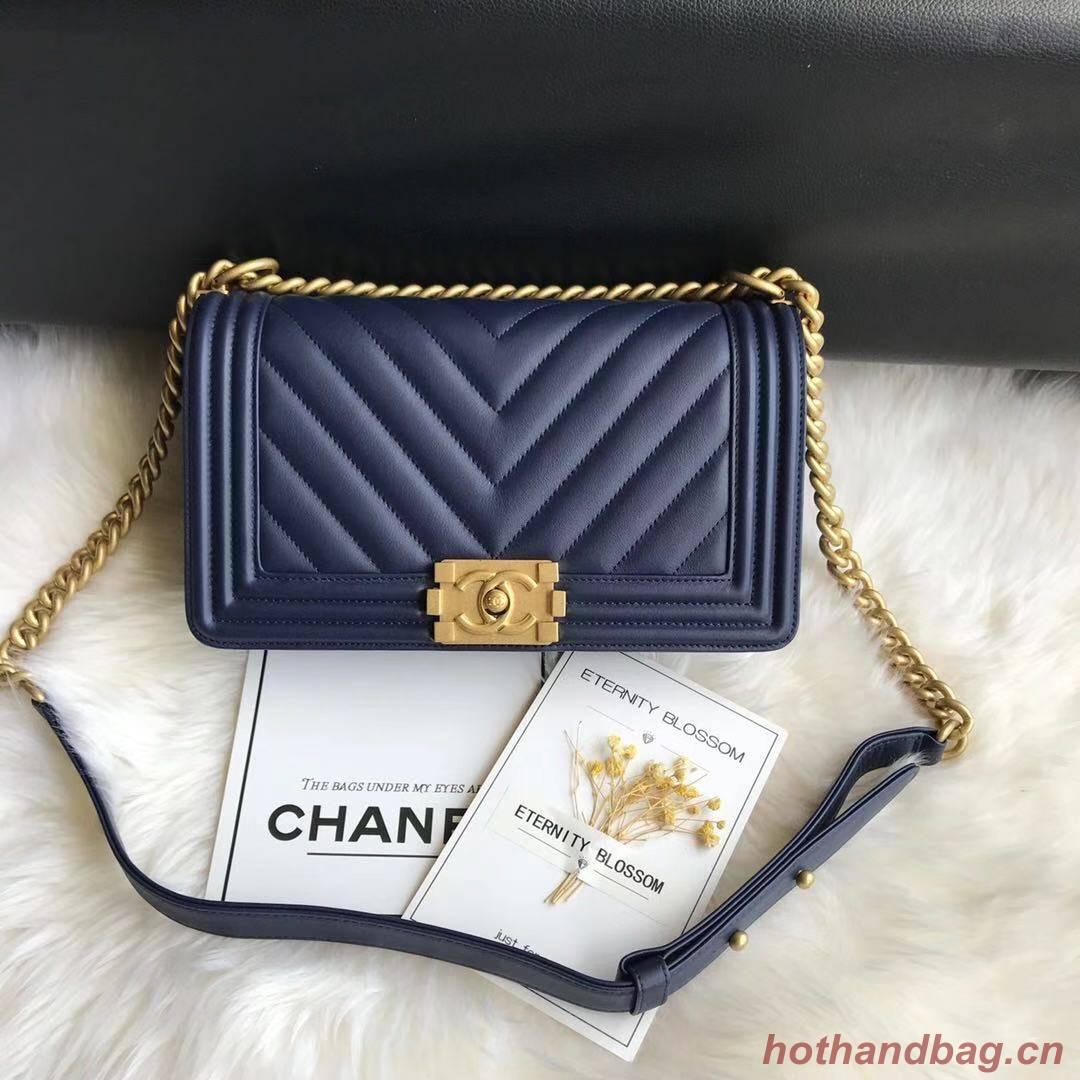 Boy Chanel Flap Bag Original Chevron Leather A67086V Blue