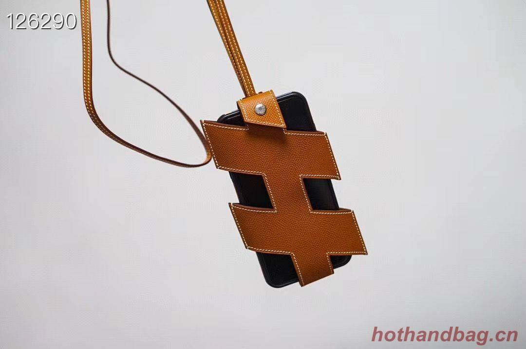 Hermes iPhone 11 pro Case Bag Original Leather H6698 Brown