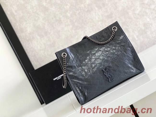 SAINT LAURENT NIKI MEDIUM SHOPPING BAG IN CRINKLED VINTAGE LEATHER 5814 dark grey