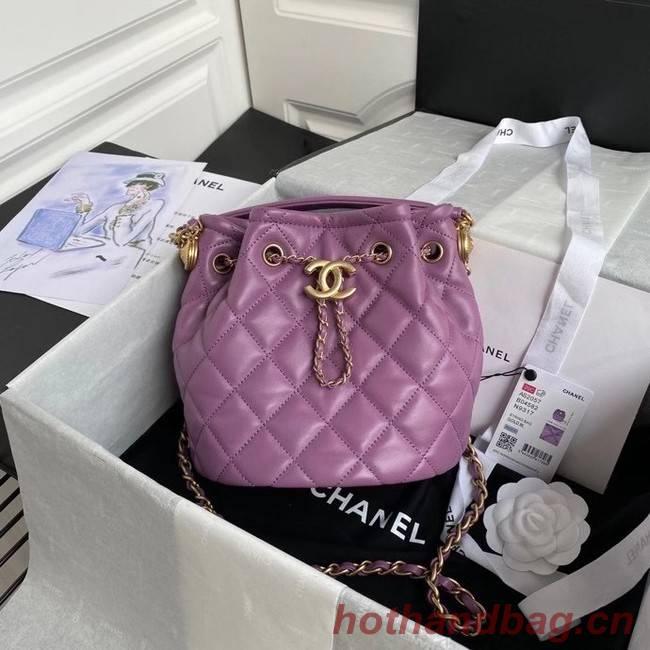 Chanel Drawstring Sheepskin bag AS2057 purple
