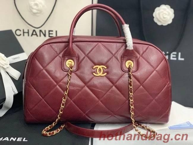 Chanel bowling bag Calfskin & Gold-Tone Metal AS8396 Burgundy