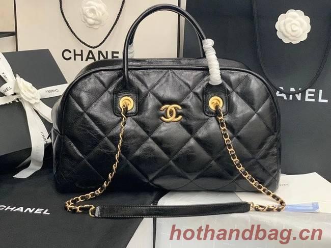 Chanel bowling bag Calfskin & Gold-Tone Metal AS8396 black