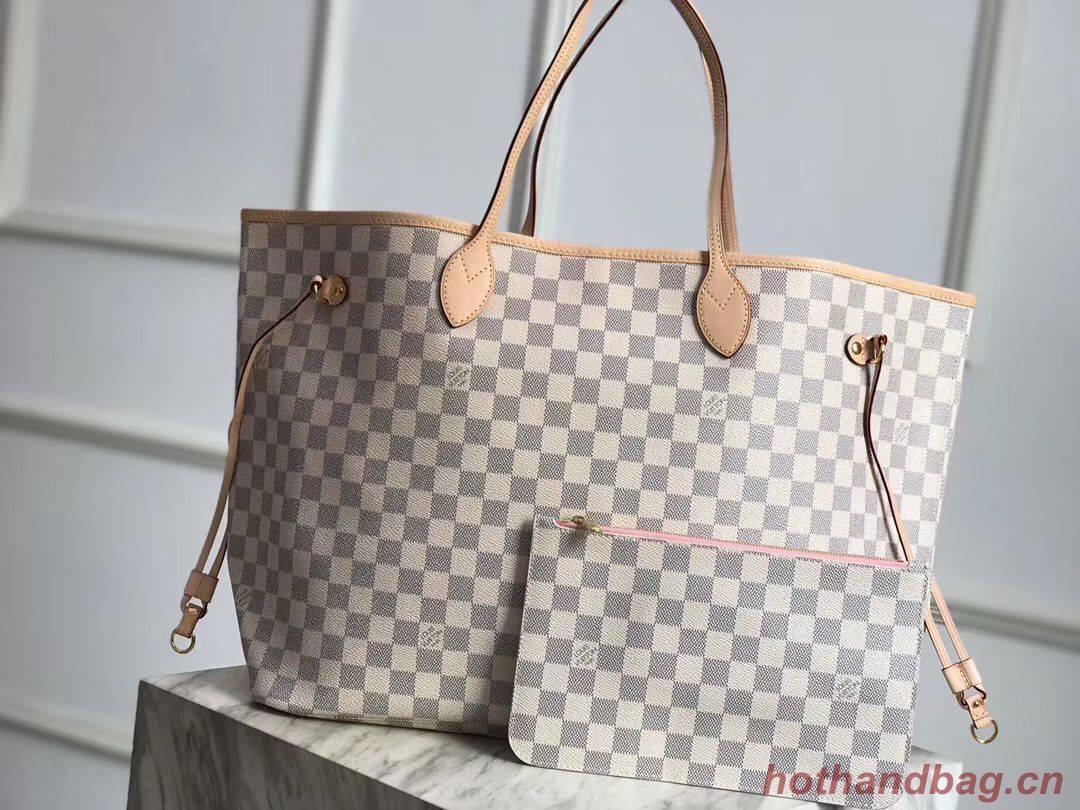 Louis Vuitton Damier Azur Original Leather Bolso NEVERFULL GM N41604 Pink