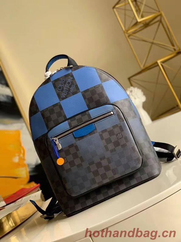 Louis Vuitton Damier Graphite Canvas Original Leather Backpack N40402 Blue