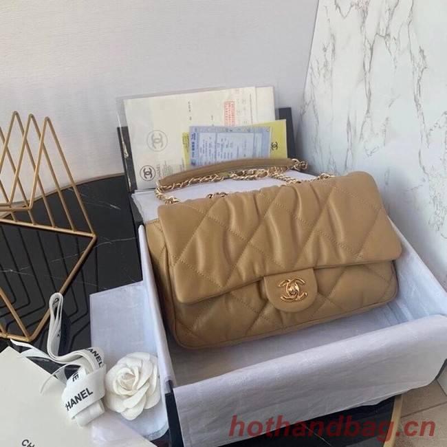 Chanel flap bag Calfskin & Gold-Tone Metal AS2231 brown