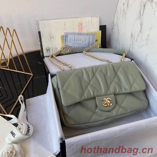 Chanel flap bag Calfskin & Gold-Tone Metal AS2231 green