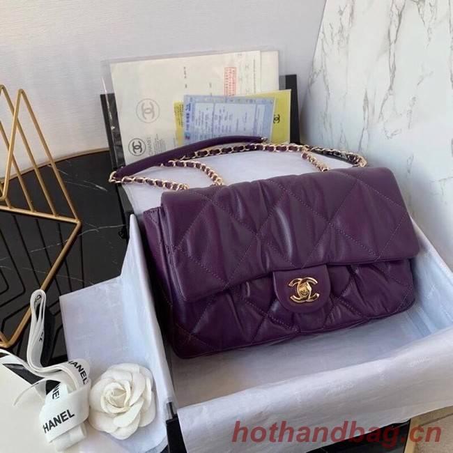 Chanel flap bag Calfskin & Gold-Tone Metal AS2231 purple