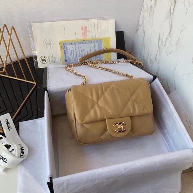 Chanel small flap bag Calfskin & Gold-Tone Metal AS2232 brown