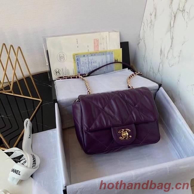 Chanel small flap bag Calfskin & Gold-Tone Metal AS2232 purple