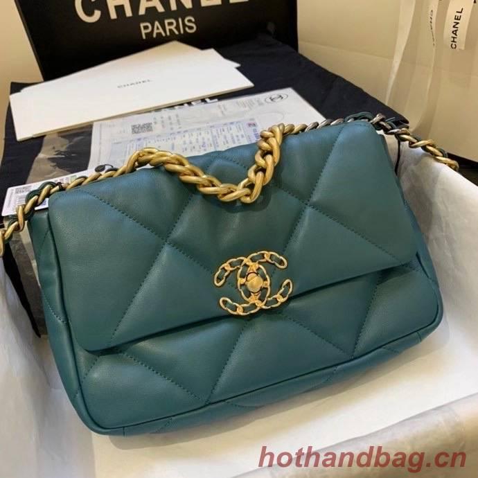 Chanel 19 flap bag AS1160 drak green
