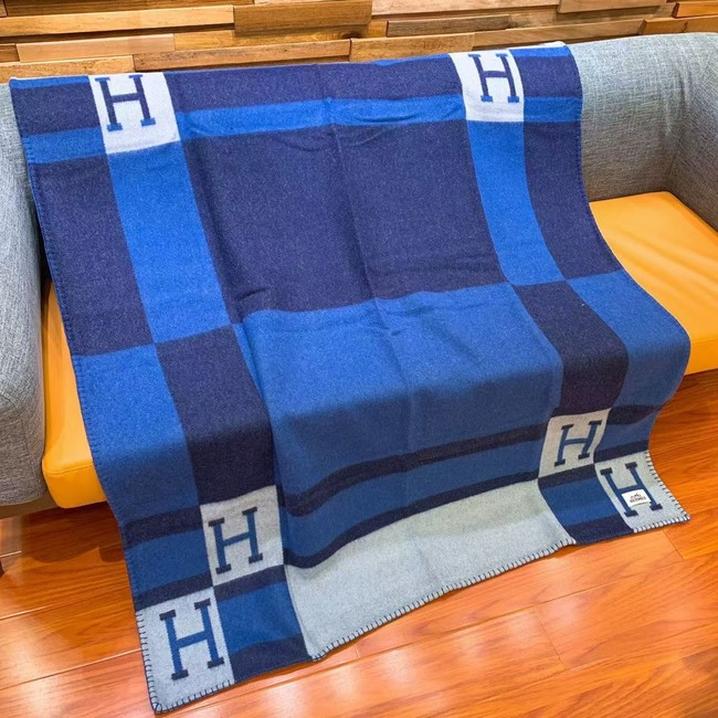 Hermes Lambswool & Cashmere Shawl & Blanket 71155 blue