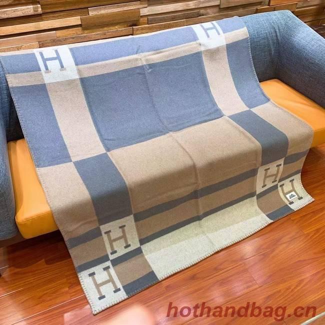 Hermes Lambswool & Cashmere Shawl & Blanket 71155 light blue