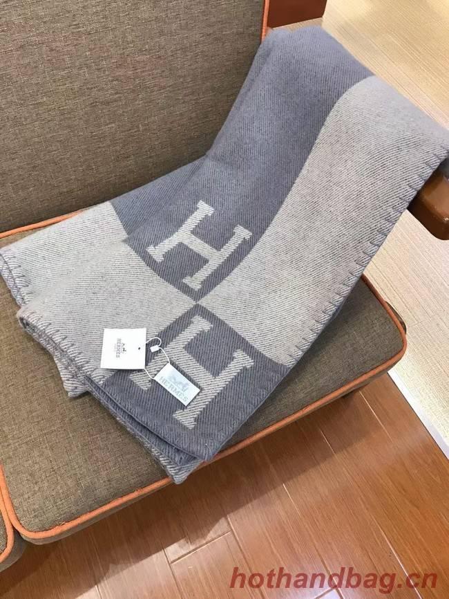 Hermes Lambswool & Cashmere Shawl & Blanket 71155 light grey