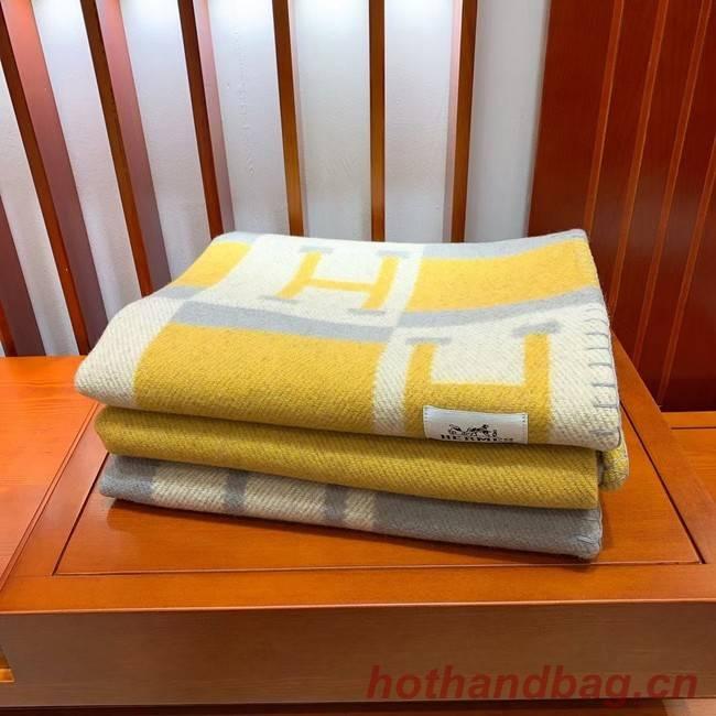 Hermes Lambswool & Cashmere Shawl & Blanket 71155 yellow