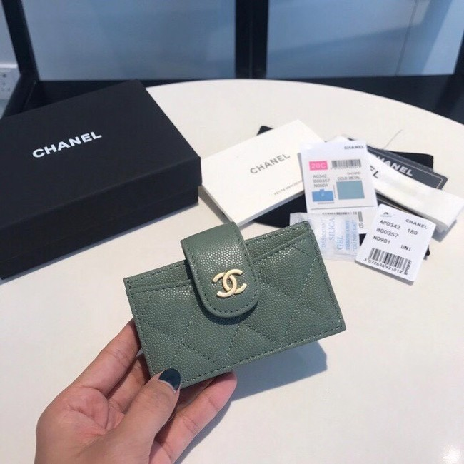 Chanel card holder AS0342 blackish green