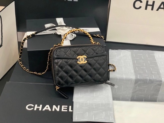 Chanel small tote bag Sheepskin & Gold-Tone Metal AS2178 black