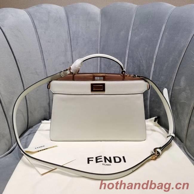 Fendi PEEKABOO ISEEU EAST-WEST leather bag 8BN323A white