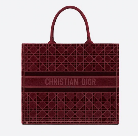 DIOR BOOK TOTE Burgundy Cannage Embroidered Velvet M1286Z