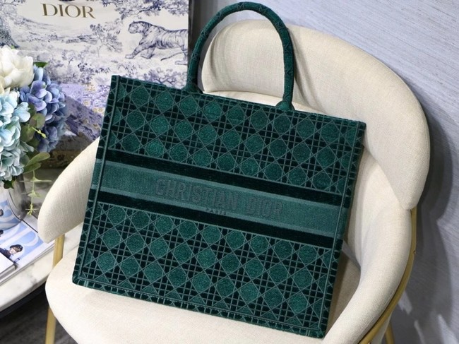 DIOR BOOK TOTE green Cannage Embroidered Velvet M1286Z