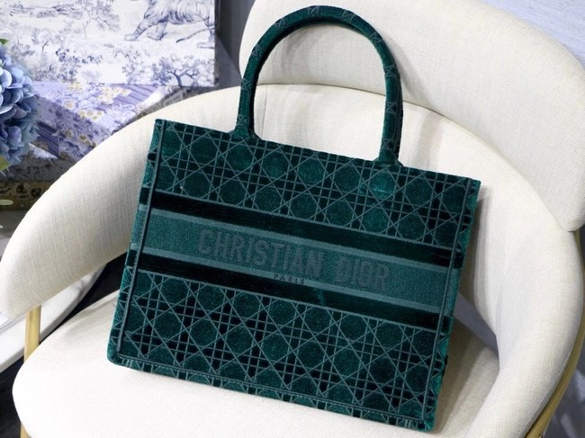 DIOR BOOK TOTE green Cannage Embroidered Velvet M1287Z