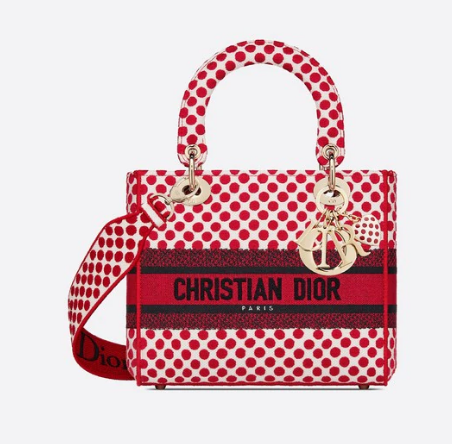 MEDIUM LADY D-LITE DIORAMOUR BAG Red Dior Dots Embroidery M0565OBB