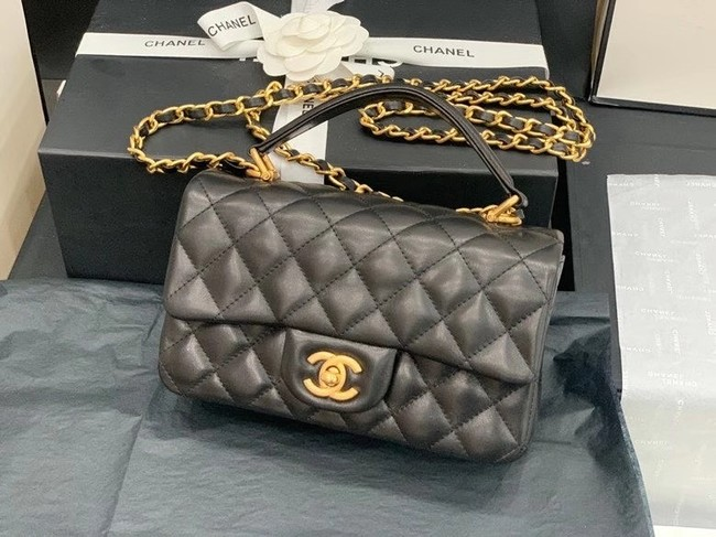 Chanel small tote bag Sheepskin & Gold-Tone Metal AS2431 black