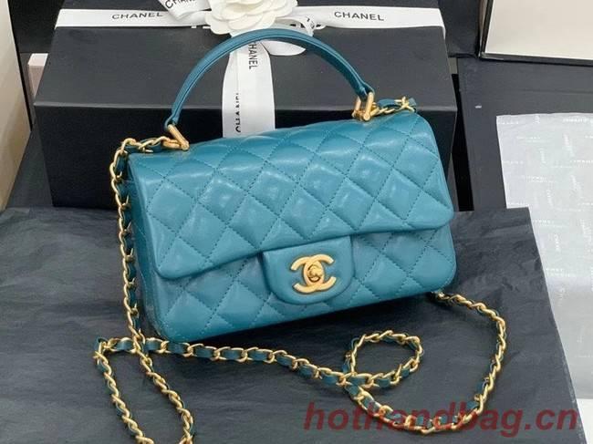 Chanel small tote bag Sheepskin & Gold-Tone Metal AS2431 blue
