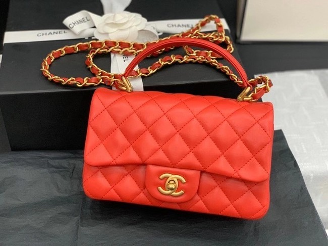 Chanel small tote bag Sheepskin & Gold-Tone Metal AS2431 red