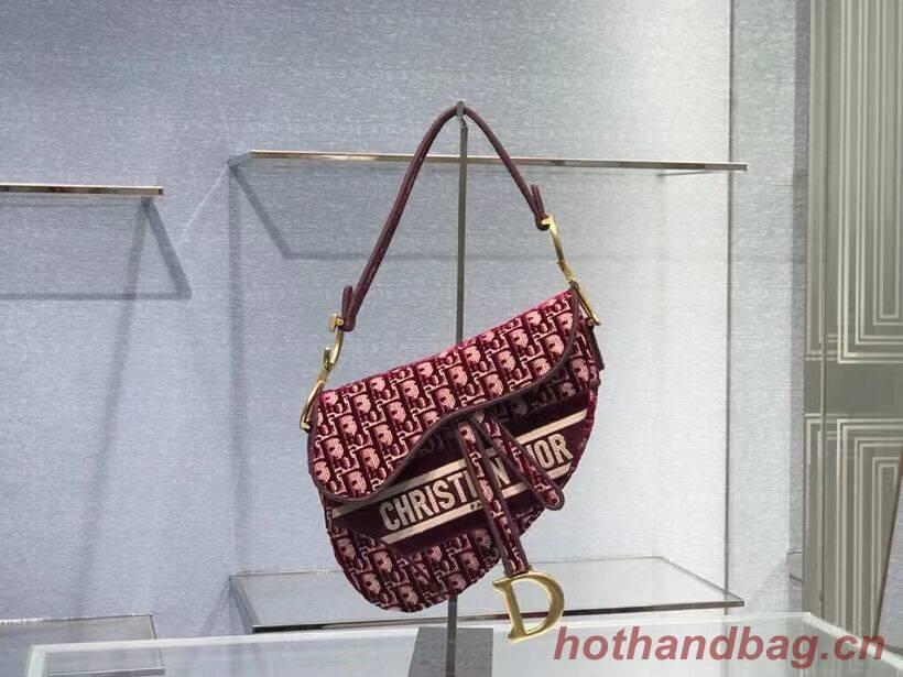 SADDLE BAG Dior Oblique Embroidered Velvet C0044 Burgundy