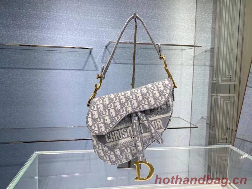 SADDLE BAG Dior Oblique Embroidered Velvet C0044 gray