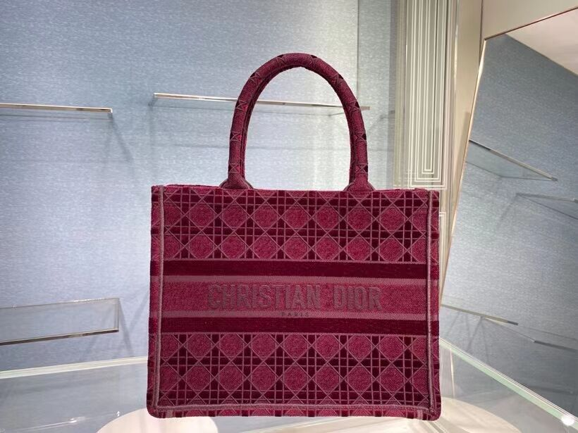 SMALL DIOR BOOK TOTE Burgundy Cannage Embroidered Velvet M1287Z