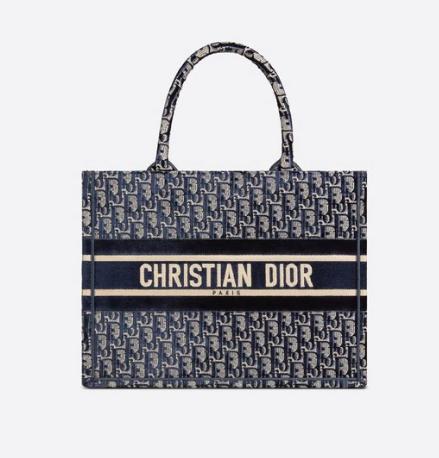 SMALL DIOR BOOK TOTE blue Dior Oblique Embroidered Velvet M1287Z