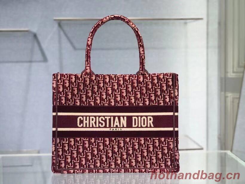 SMALL DIOR BOOK TOTE Burgundy Dior Oblique Embroidered Velvet M1287Z