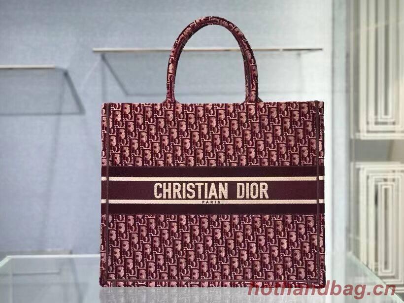 DIOR BOOK TOTE Burgundy Dior Oblique Embroidered Velvet M1286Z