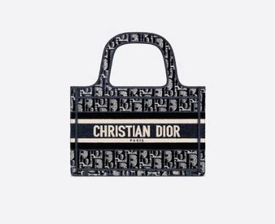 MINI DIOR BOOK TOTE Blue Dior Oblique Embroidered Velvet S5475Z